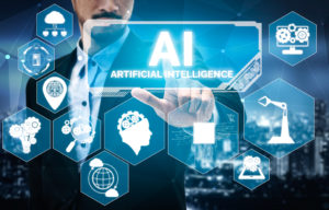 AI Learning and Artificial Intelligence Concept - Icon Graphic Interface showing computer, machine thinking and AI Artificial Intelligence of Digital Robotic Devices.
